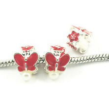 NEW 3pcs Butterfly Silver European Charm Spacer Beads Fit Necklace Bracelet  DIY