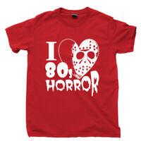 I Love 80s Horror Movies T Shirt Halloween Jason Voorhees Zombie DVD Blu Ray Tee