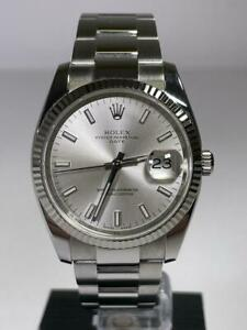 Rolex Oyster Perpetual Date Silver Baton Dial Ref 115234 from 2007