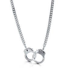 BERRICLE Silver-Tone Handcuffs Fashion Statement Chain Necklace