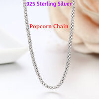 Tarnish-Free Popcorn Coreana Chain Necklace Real 925 Sterling Silver ALL SIZES