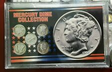 UNITER STATES MINTED COIN SET 90% SILVER MERCURY DIME OF 5 In Plastic Vault