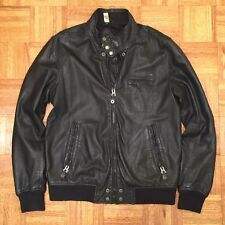 DIESEL BLACK MENS LEATHER BOMBER MOTORCYCLE JACKET Fits like Sz M