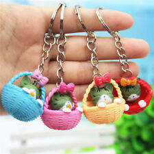 Cartoon Basket Cat  Keychain Pendant Keyring Gift  Bag Purse Key Chain Jewelry.
