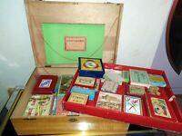 Coffre de jeu ancien C.1900 Jeux Nouveaux Réunis boite bois pyrogravé JFL MR