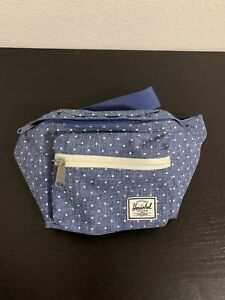 Herschel Fanny Pack, Waist Bag, Blue With White Polka Dots