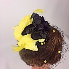 Womens Vintage Whittall & Javits Yellow Black Floral Birdcage Hat