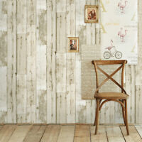 3D White Rustic Wood Plank Wallpaper Self Adhesive Wall Stickers Peel and Stick