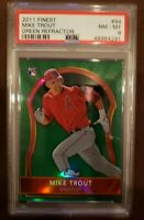 MIKE TROUT 2011 TOPPS FINEST GREEN REFRACTOR ROOKIE RC #129/199 PSA 8 NM-MT RARE