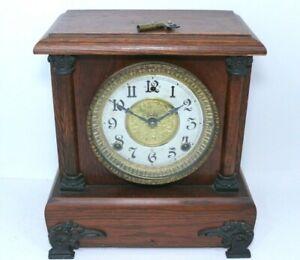 Antique Vintage Gilbert 1910 8 Day Half Hour Chime Strike Mantel Clock Running