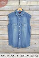 Vintage Mens Levi Strauss Sleeveless Denim Shirts XS, S, M, L, XL, XXL
