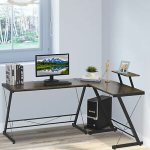 L Shaped Home Office Desk Gaming Workstation with Shelf & CPU Stand
