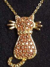 Sterling Kitten Pendent/Chain 18K Rose/Yellow Gold Over