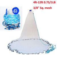 "Cast Net 4ft-12ft 3/8"" Mono Mesh 0.75/1LB Saltwater Casting Net with Sinker Lead"