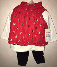 baby girls New Nwt 3 Pc Set red Quilted Vest Leggings Top Shirt gold hearts 0-3