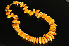 Natural Antique 53.71g Butterscotch Egg Yolk Baltic Amber stone Necklace A554
