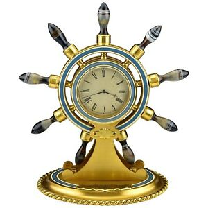 Ships Wheel Clock with Carved Agate & Bronze & Enamel Alexander & Company