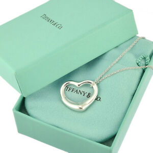 Auth TIFFANY&CO. Open Heart Pendent Necklace AG925 Sterling Silver ElsaPeretti L