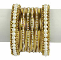 Indian Ethnic Bangles Jewelry Bollywood Bridal Gold Plated Antique Design Set
