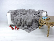 Luxe Véritable Toscana fur Throw Blanket Couleur grise #972