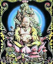 Buddha Blacklight Reactive Cloth Wall Hanging Fabric Poster Print, 23x28