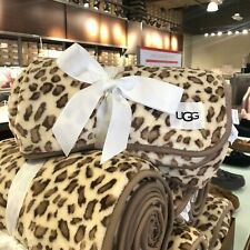 UGG Home Duffield Throw Blanket Leopard New with Tags 50 x 70