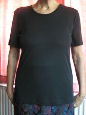 Jean Muir Essentials New Small - Black Long Top - Short Sleeves 1990's