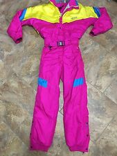 Vtg 80's Nevica Neon Onsie Snow Ski Suit Men's Size 38 Small Coat Snowsuit Pink