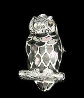 Awesome 6x3mm Hot Rainbow Luster Mop 925 Sterling Silver Owl Brooch & Pendant