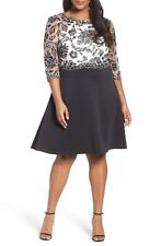 TADASHI SHOJI Black White Embroidered Lace Scuba Knit Fit & Flare Dress 18Q 18W
