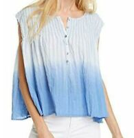 Free People Womens Blouse Blue Size Large L Crinkle Ombre Smocked $78 298