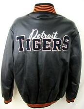 Detroit Tigers Mens Large Snap Front Embroidered Faux Leather Jacket DTI 11