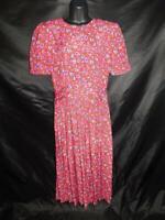 Vintage 80s Depeche Mode Size 12 M L Red Blue Purple Floral Dress Short Sleeve