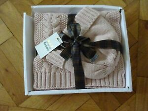 BARBOUR DUSTY PINK HAT & SCARF SET - HAT WARM LINING - SCARF CABLE PATTERN - NEW