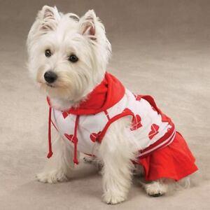 Casual Canine Dog Dress Hooded One Love Tennis Heart Stripes Sporty Sleeveless