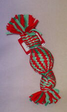 HOLIDAY TIME * RED/GREEN  ROPE SQUEAK TOY * 10 INCH * SM/MED DOGS *