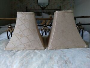 Pair of gold fabric lamp shades