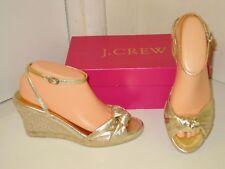 J. Crew Amelia Gold Metallic Leather Espadrilles Platforms Wedges Shoes Womens 6