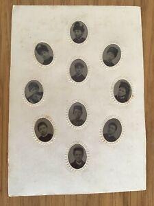CC TEN GEM Portrait TINTYPES on one card + ADVERT BACK c 1880 CABINET PHOTO 9/10