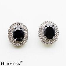 925 Sterling Silver Earrings 5/8'' Jxk034 Good Looking Black Onyx White Topaz