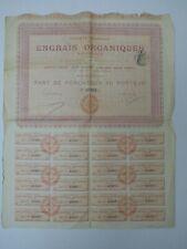 VIEUX PAPIERS ACTION ENGRAIS ORGANIQUES PART DE FONDATEUR AU PORTEUR 1907