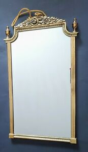 "VNTG Antique Large Heavy Ornate Brass Mirror Hollywood Regency 26 x 15"" Rococco"