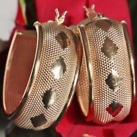 "14k yellow gold earrings 1.12"" fancy hoop vintage handmade 7.1gr PN74"