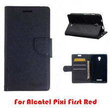 Alcatel Pixi First Mooncase Stand Black Wallet TPU in Case Cover Card Slot
