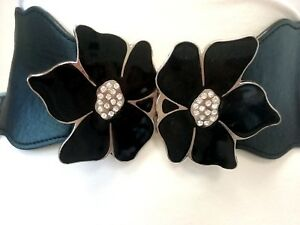 Women Elastic Waist Metal Flowers Black Belt Size XS S M L
