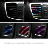 10x Auto Accessories Car Colorful Air Conditioner Air Outlet Decoration Strip
