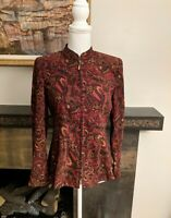 Notations Women's Petite Small Paisley Red Brown Zip Jacket