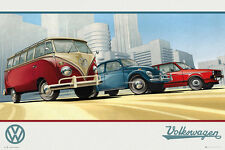 VOLKSWAGEN - VINTAGE CARS ART POSTER - 24x36 VW CLASSIC CAMPER 34129
