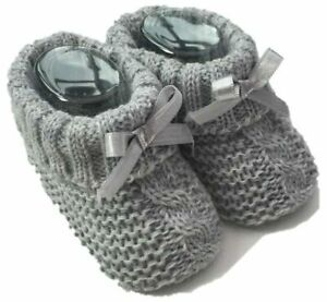 Baby Boy Girl Knitted Bow Booties Spanish Shoes Various Colours0-3 Months