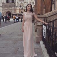 Ever-Pretty Blush Lace Cap Sleeve Bridesmaid Dresses Maxi Evening Dresses 09993